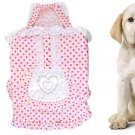 Pink Elastic Strap Dot Lace Trim Tiered Servant Style Pet Dog Dress Size 5