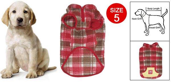 Size 5 England Checker Kangaroo Pocket Cotton Vest for Pet Dog