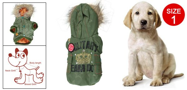 Size 1 Star Printed Lining Crown Rhinestone Decor Pet Dog Hooded Clothes Green