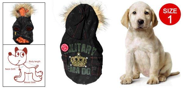 Black Press Studs Vertical Pockets Lining Hooded Coat Size 1 for Pet Dog