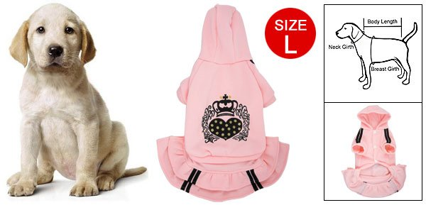 Pink Hooded Button UP Heart Crown Dress L for Dog Pet L