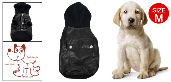 Black Hooded Faux Leather Jacket Coat M for Dog Pet
