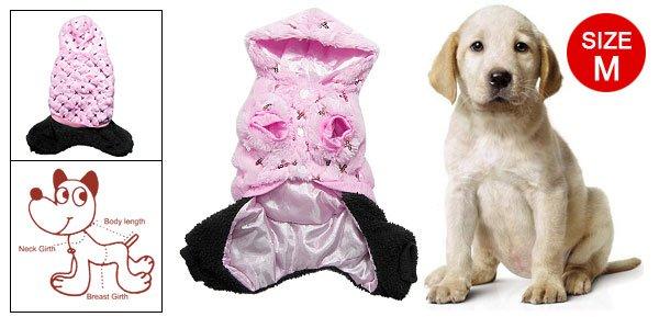 Pet Dog Clothes Sequin Winter Warm Jumpsuit Pink Black M