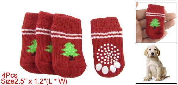 Pet Puppy Red White Antiskid Christmas Tree Decor Warm Socks
