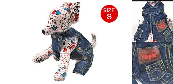 Pet Dog Adjustable Blue Denim Suspender Trousers S