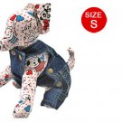 Pet Dog Adjustable Blue Denim Suspender Trousers S