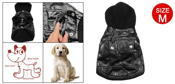 Puppy Dog Black Hooded Coat Warm Apparel Clothes Size M
