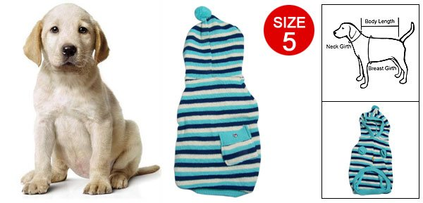 Puppy Pocket Decor Striped Knitted Hooded Sweater Sz 5