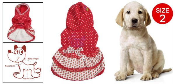 Strawberry Dots Print Lace Trim Winter Hoody Thick Dress for Dog Sz 2