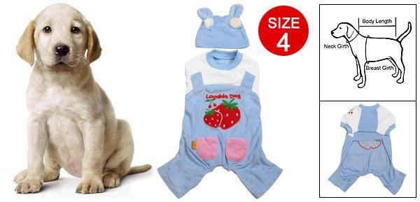 Dog Strawberry Print Pockets Decor Jumpsuit w Hat Size 4