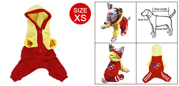 Sz XS Pet Dog Button-down Apparel Jumpsuit Red Yellow