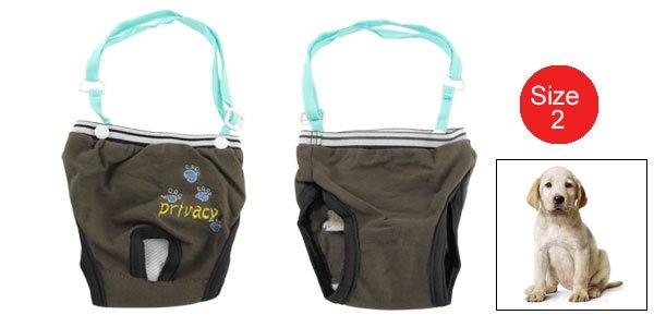 Coffee Cotton Female Dog Sanitary Diaper Pants Size 2