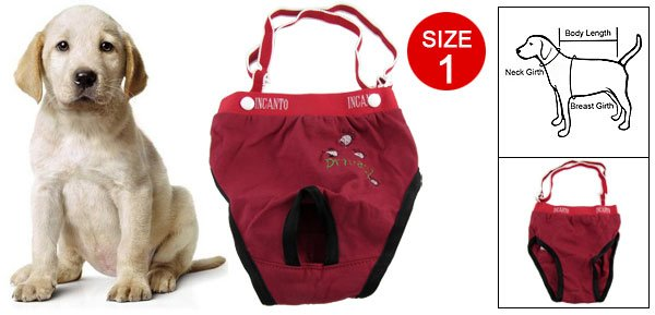 Red Pet Dog Pants with Adjustable Braces Size 1