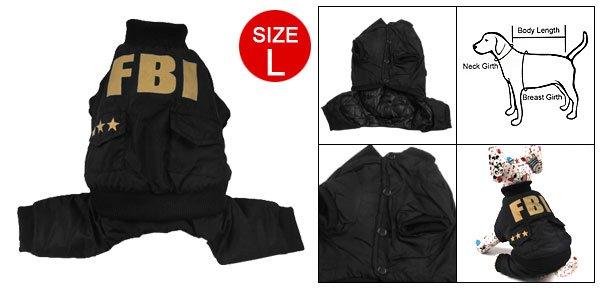 Size L Button Closure Black Jumpsuit Apparel for Dog Pet