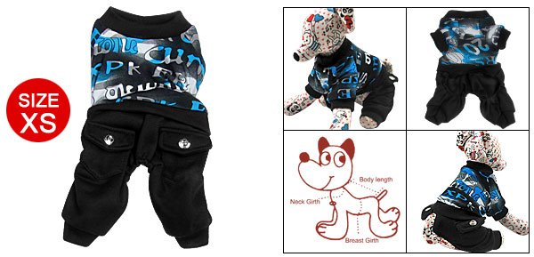 Pet Dog Number Print Shirt w Pocket Pants Romper Suit Apparel XS