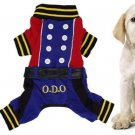 Blue Red Autumn Button Design Dog Puppy Apparel Jumpsuit Size S