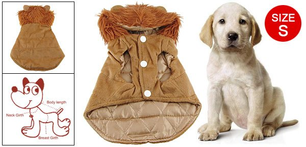 Sz S Plush Hoodie Brown Winter Coat Apparel for Pet Dog