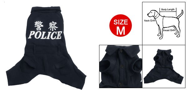 Size M Navy Blue Collar Jumpsuit Clothes for Dog Pet