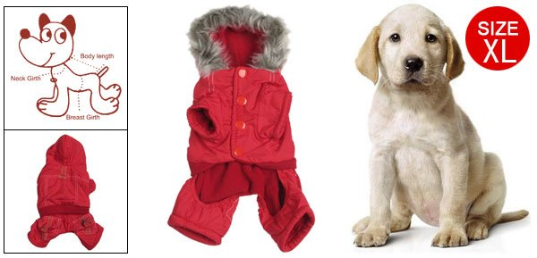 Dog Size XL Plush Hem Hood Warm Winter Clothes Red New