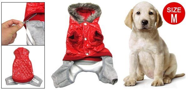 Dog Red Winter Hoodie Coat Faux Leather Top Jumpsuit Pet Apparel M