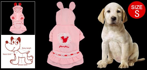 Pink Red White Rabbit Design Doggy Winter Dress Size S