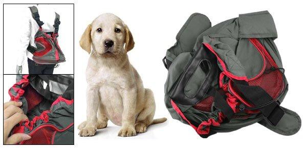 Army Green Red Nylon Adjustable Waist Strap Dog Pet Carrier Holder