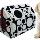 Black and White Round Dot Pattern Pet Puppy Collapsible Puppy House Zippered Shelter