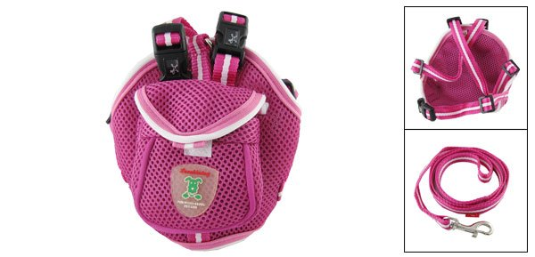 Fuchsia Pet Dog Cat Backpack Bag Harness with Leash Set Size S