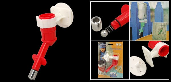 Red Cat Dog Pet Plastic Water Feeder Pipe Conduit