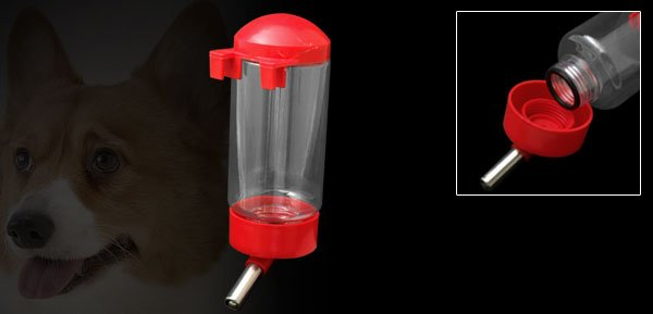Metal Pipe Plastic Water Bottle Feeder for Dog Cat Pet Red