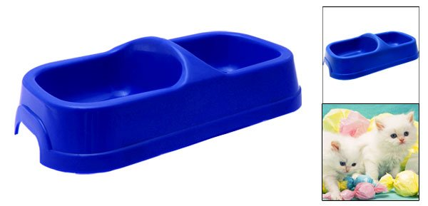 Blue Plastic Double Square Bowls Dog Cat Pet Food Water Feeder Dish