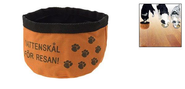 Fashion Flexible Flower Pattern Orange Rag Nylon Pet's Dish Bowl