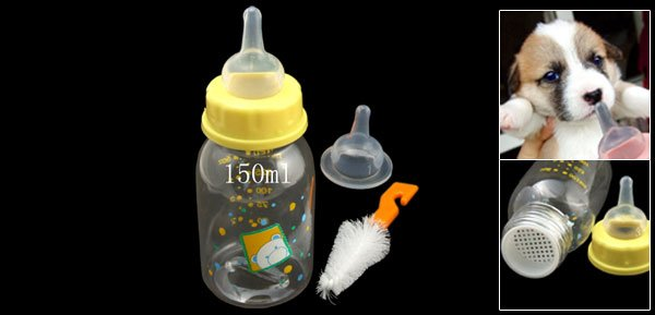 Portable Cute Pet Use Small Yellow Plastic Nursing Milk Bottle Feeder
