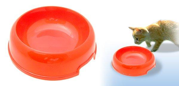Orange Cat Dog Solid Plastic Food Feeder Dish Pet Water Bowl