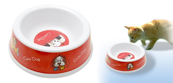 Red Solid Plastic Cat Dog Food Feeder Dish Pet Water Bowl