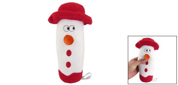 Red White Plush Christmas Snowman Squeeze Whistling Toy for Pet Dog
