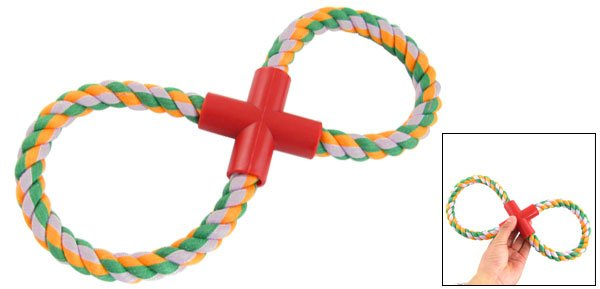 Pet Dog Knot Colored Rope Figure 8-Shaped Tug Fetch Trainning Toy