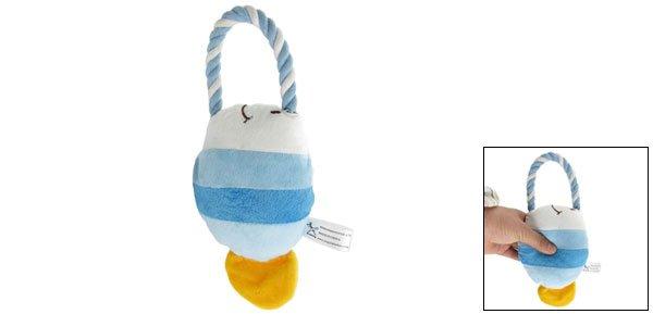 Pet Dog Blue White Plush Tropical Fish Squeaky Toy w Tug Rope