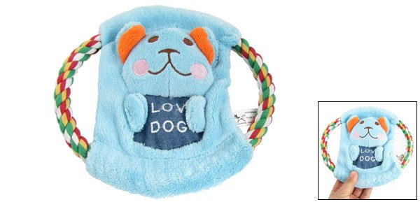 Pet Puppy Blue Plush Animal Accent Knot Rope Frisbee Squeaky Toy