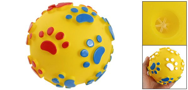 Pet Doggie Chew Paw Print Accent Yellow Ball-Shaped Squeaky Toy