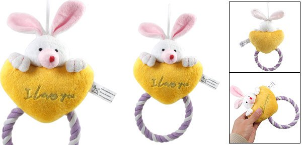 Squeaky Rabbit Puppy Plush Squeaker Toy w Tug Rope for Pet Dog