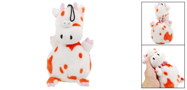 Lovely Orange Speckle Plush Squeaky Cow Pet Toy Doll for Puppy Dog