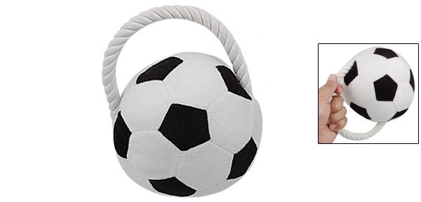 Rope Design Plush Squeaky Soccer Pet Ball Toy for Puppy Dog