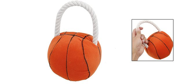 Orange Red Roped Plush Basketball Pet Ball Toy for Puppy Dog