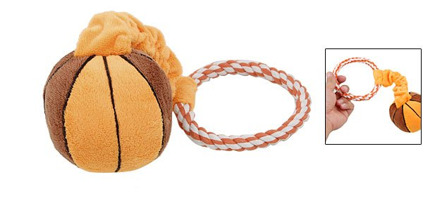 Rope Ring Mini Plush Basketball Pet Squeaky Ball Toy for Puppy Dog
