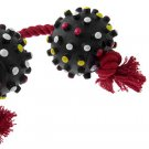Dog Pet Catching Chew Toy Braided Rope Knot Tug Ball Red