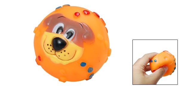 Pet Puppy Chew Squeaky Funny Dog Pattern Ball Toy