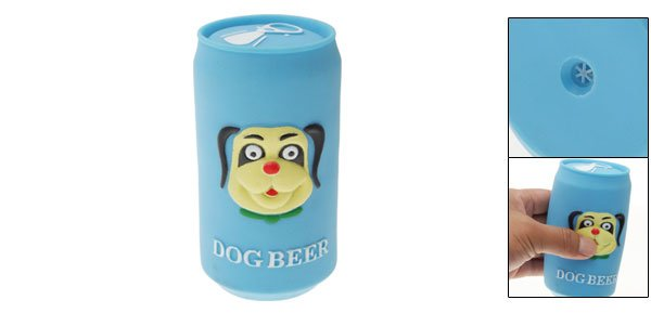 Blue Soft Vinyl Plastic Beer Can Pet Dog Chew Squeaky Toy