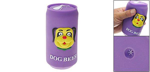 Purple Vinyl Plastic Beer Jar Pet Dog Squeaky Chew Toy