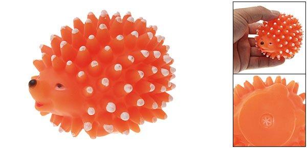 Hedgehog Design Squeaky Pet Dog Puppy Chew Toy Orange
